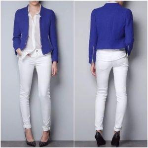 Zara Navy Blue Cobalt Boucle Tweed Zip Jacket